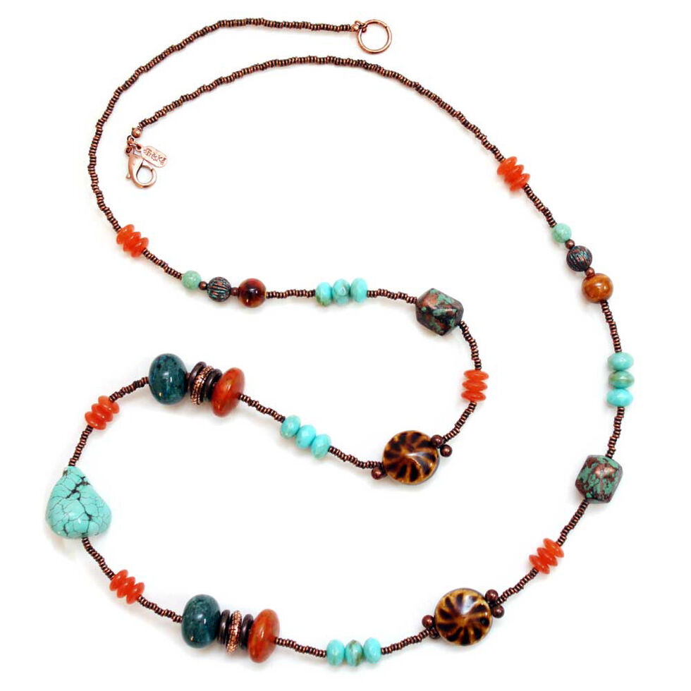 Treska Long Beaded Necklace , Multi, hi-res