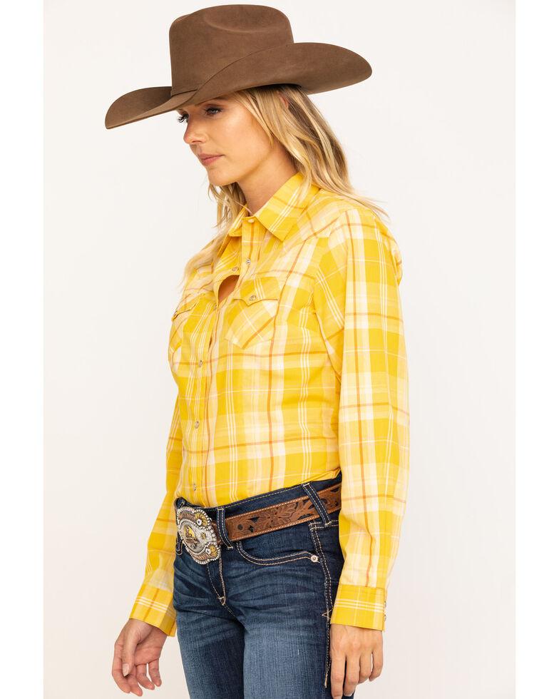 Wrangler Women's Mustard Plaid Long Sleeve Western Shirt, Dark Yellow, hi-res