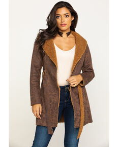 Shyanne Women's Faux Suede Sherpa Long Jacket, Brown, hi-res