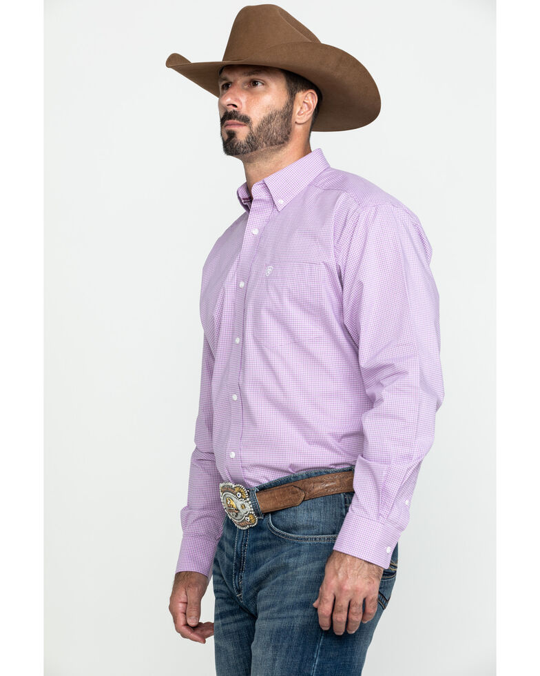 Ariat Men's Foothill Small Plaid Long Sleeve Western Shirt , Purple, hi-res