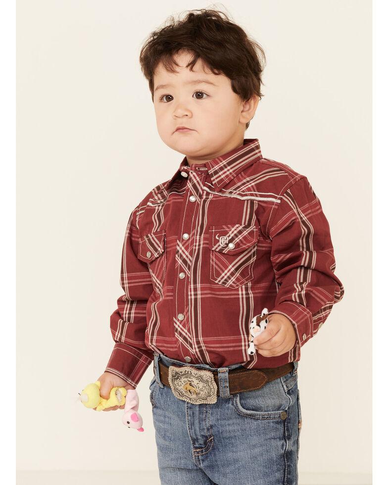 Cowboy Hardware Toddler Boys' Burgundy Plaid Embroidered Long Sleeve Snap Western Shirt , Burgundy, hi-res