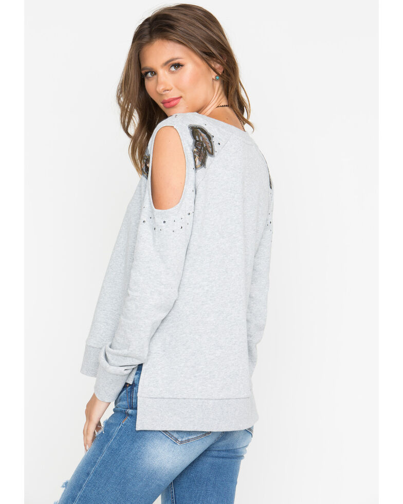 Shyanne Women's Sequin Cold Shoulder Sweater , Heather Grey, hi-res