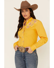 Cruel Girl Women's Arena Fit Gold Embroidered Long Sleeve Western Core Shirt , Yellow, hi-res