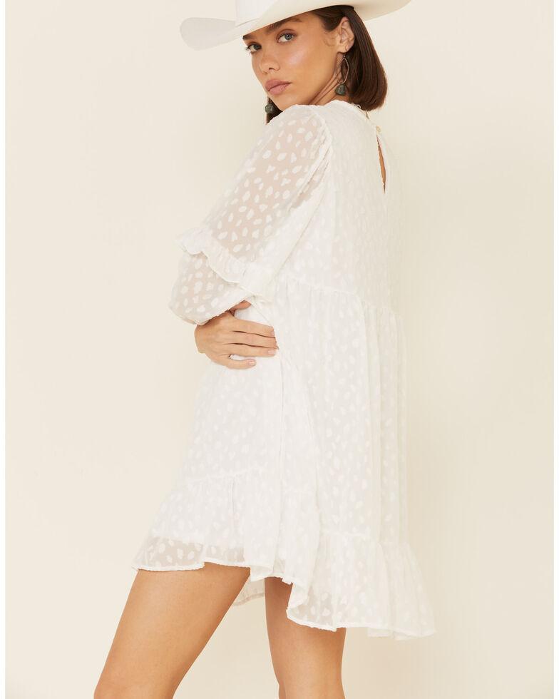 Peach Love Women's White Clip Dot Dress, White, hi-res