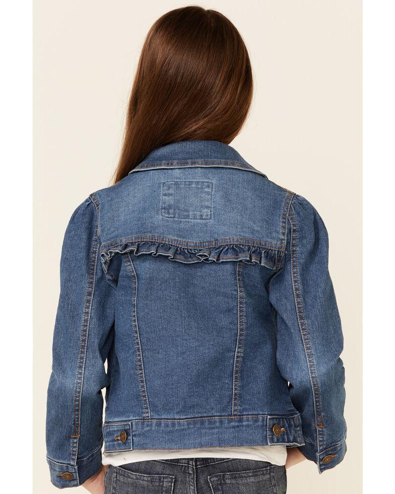 Urban Republic Youth Girls' Medium Wash Ruffle Yoke Buffon-Front Denim Jacket , Indigo, hi-res