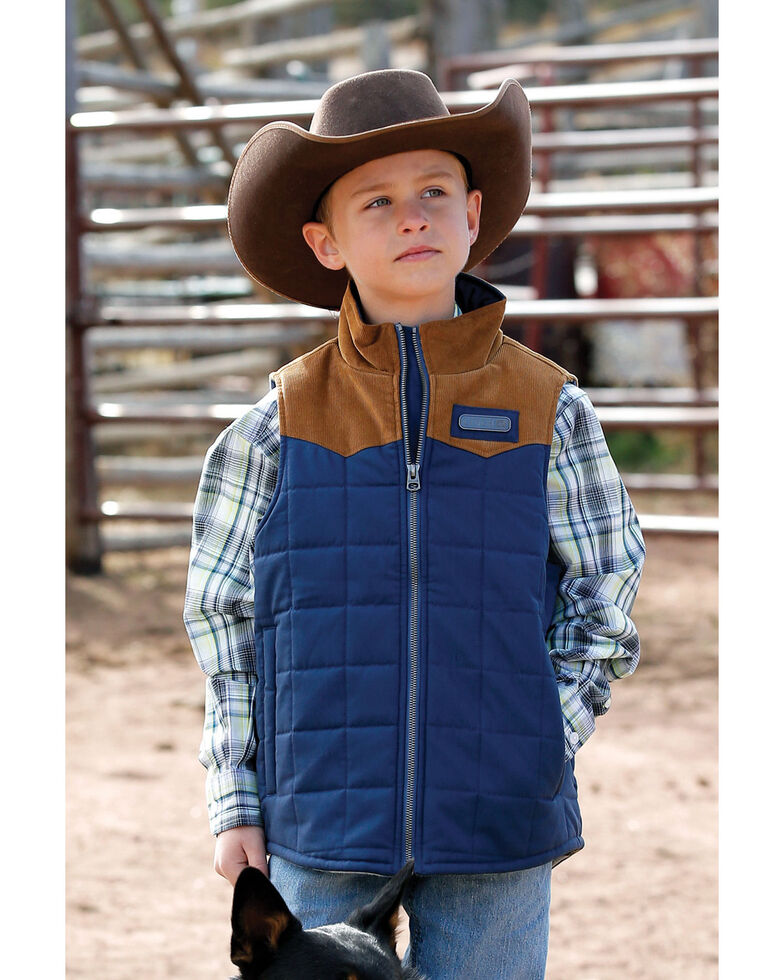 Cinch Boys' Blue Quilted Polyfill Puffer Vest , Blue, hi-res