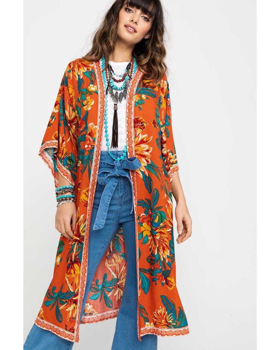Flying Tomato Women's Big Floral Kimono Duster , Rust Copper, hi-res