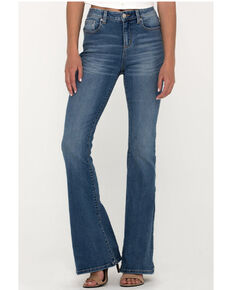 Miss Me Women's Embroidered Desert High Rise Flare Jeans  , Blue, hi-res