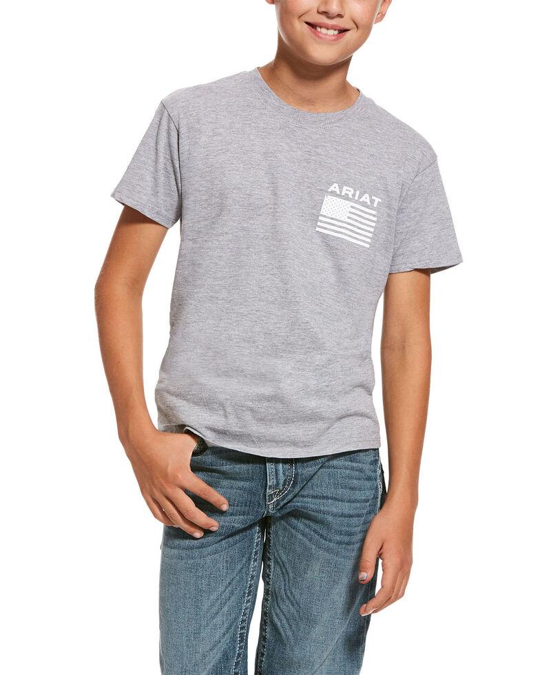 Ariat Boys' Freedom Flag Graphic T-Shirt , Grey, hi-res