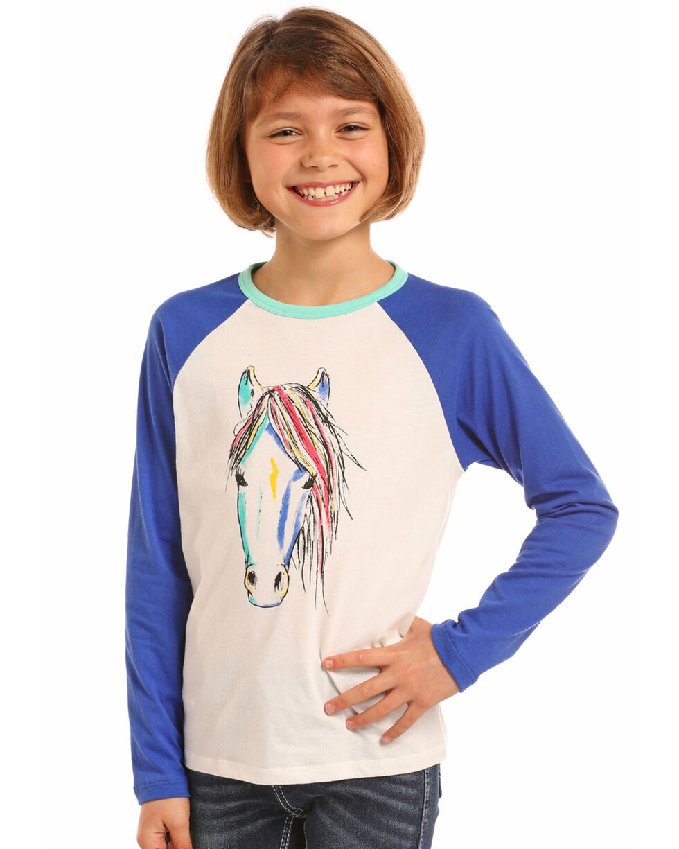 Rock & Roll Cowgirl Girls' Watercolor Horse Baseball Tee, Ivory, hi-res