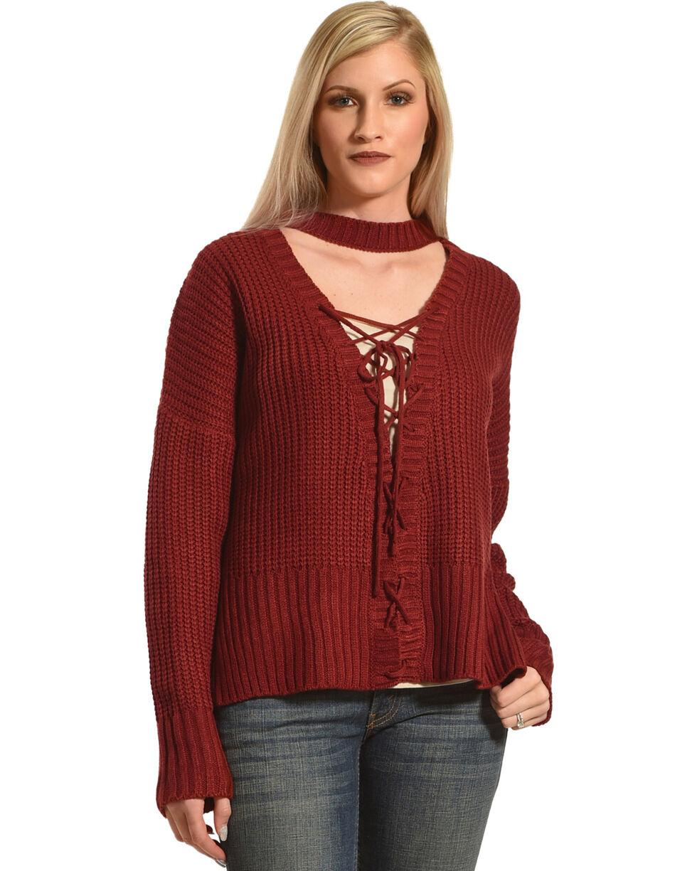 HYFVE Women's Choker Lace-Up Sweater , Burgundy, hi-res