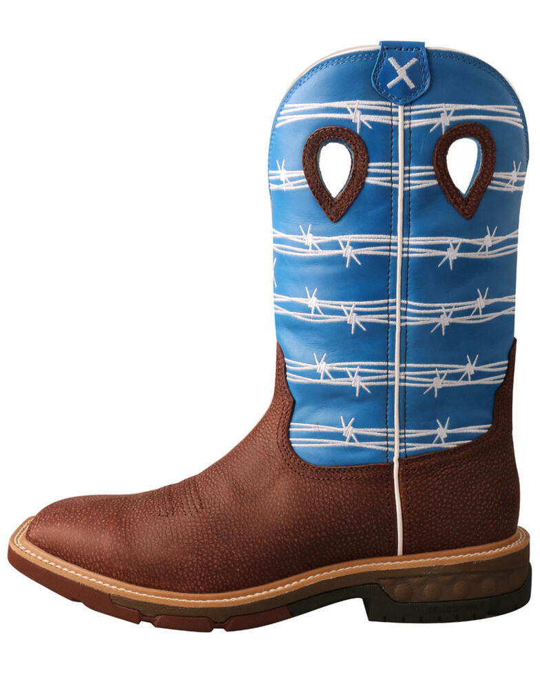 Twisted X Men's CellStretch Western Boots - Wide Square Toe, Burgundy, hi-res