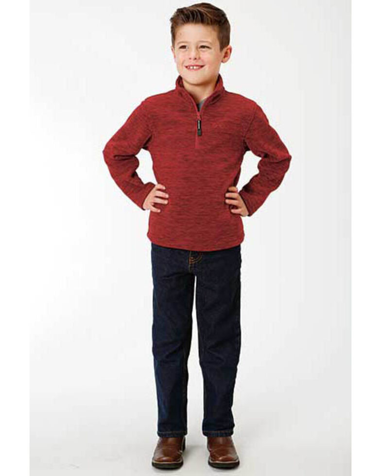 Roper Boys' Bonded Fleece Lightweight Pullover Jacket , Red, hi-res