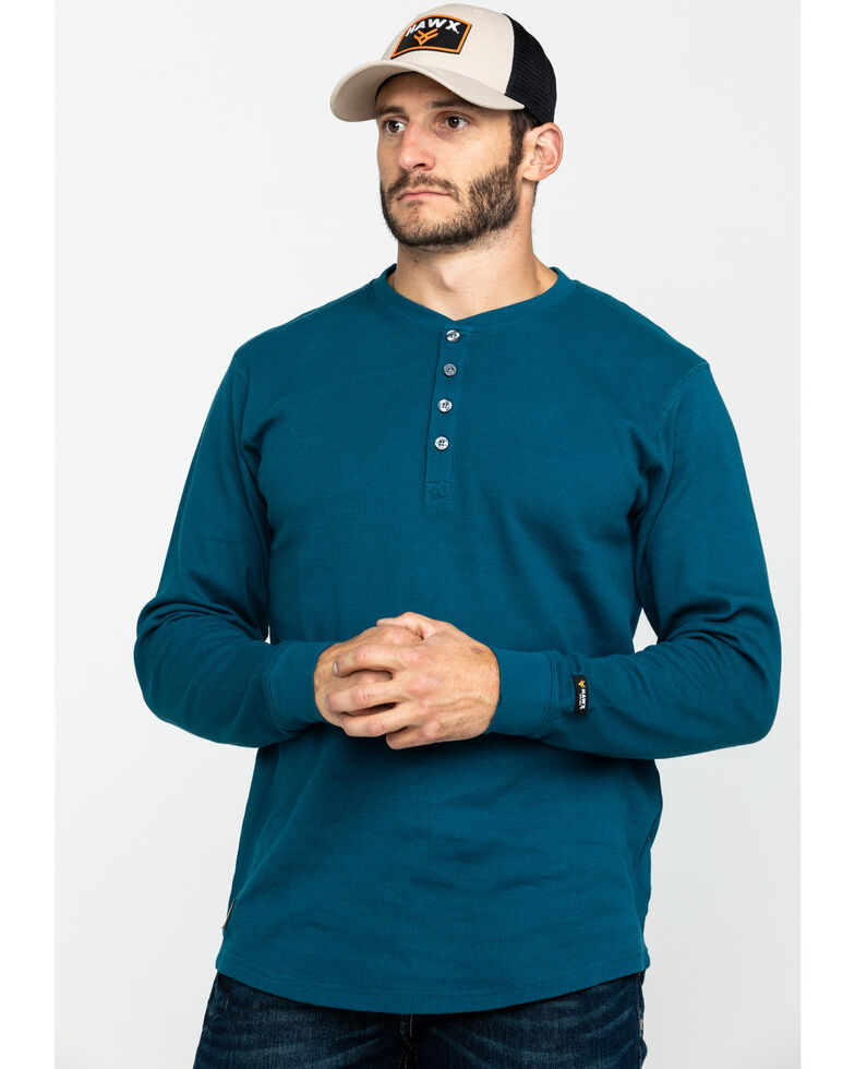 Hawx Men's Blue Thermal Henley Long Sleeve Work Shirt - Tall , Blue, hi-res