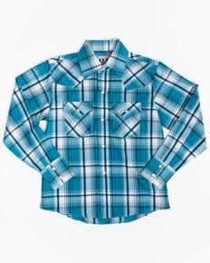 Ely Walker Boys' Assorted Multi Textured Woven Plaid Long Sleeve Western Shirt , Multi, hi-res