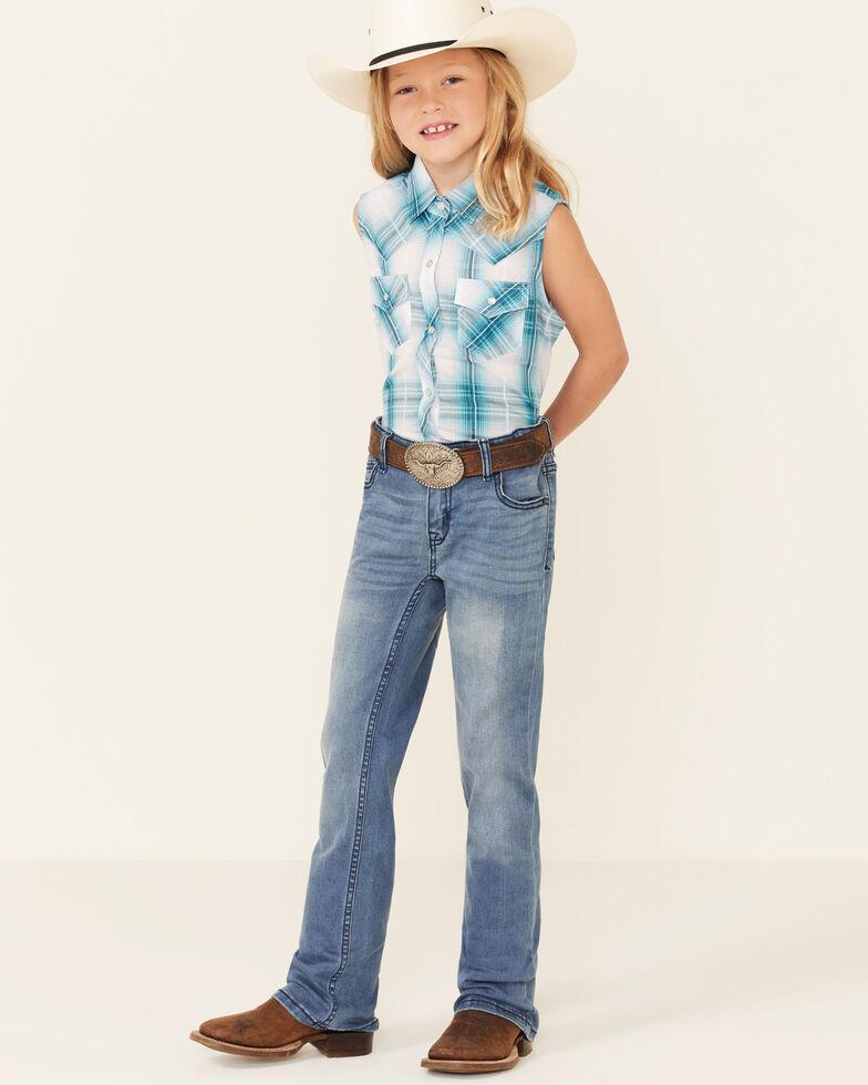 Ely Walker Girls' Jade Plaid Sleeveless Snap Western Shirt , Jade, hi-res