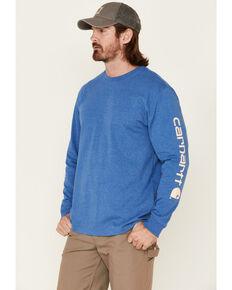 Carhartt Men's Heather Blue Logo Heavyweight Graphic Long Sleeve Work T-Shirt , Heather Blue, hi-res
