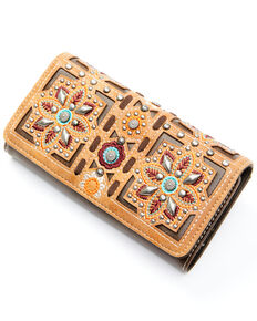 Montana West Women's Embroidered Floral Wallet, Coffee, hi-res