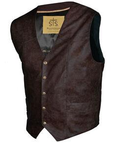 STS Ranchwear Men's Brandy Leather Chisum Vest , Brown, hi-res