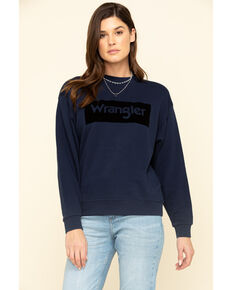 Wrangler Modern Women's Navy High Rib Retro Logo Sweatshirt, Navy, hi-res
