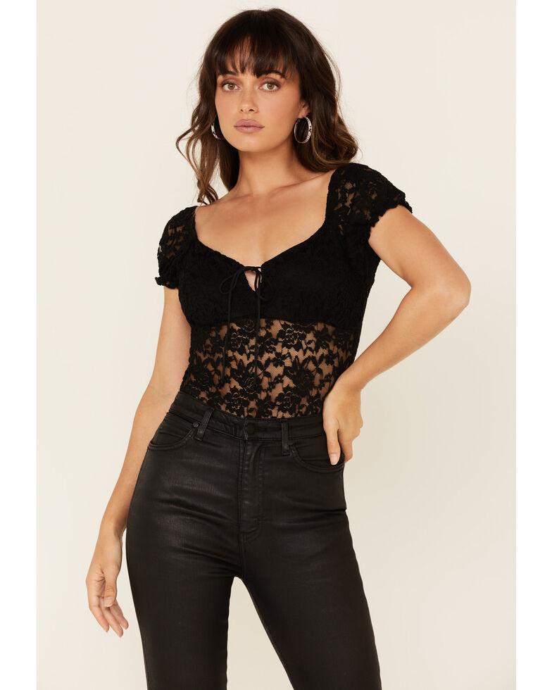 Panhandle Women's Black Lace Tie Front Stretch Short Sleeve Top , Black, hi-res
