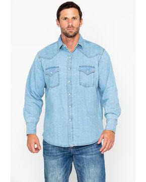 Ely Cattleman Men's Bleached Denim Long Sleeve Western Shirt , Light Blue, hi-res