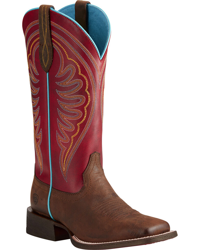 Ariat Women's Circuit Shiloh Brown/Red Cowgirl Boots - Square Toe, Tan, hi-res
