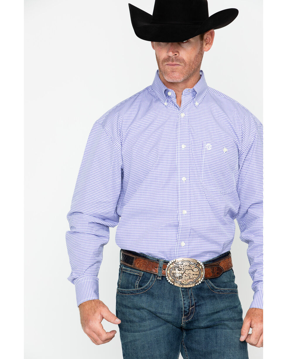 George Strait by Wrangler Men's Mini Check Plaid Long Sleeve Shirt , Purple, hi-res