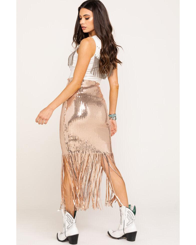 Chrysanthemum Women's Fringe Sequin Skirt, Light Pink, hi-res