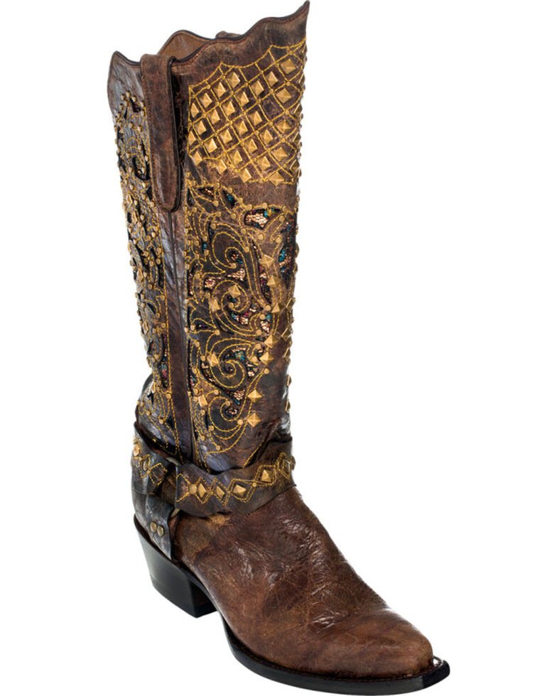 Ferrini Chocolate Country Rebel Cowgirl Boots - Snip Toe, Chocolate, hi-res