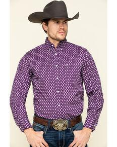 Wrangler 20X Men's Competition Purple Diamond Geo Print Long Sleeve Western Shirt , Purple, hi-res