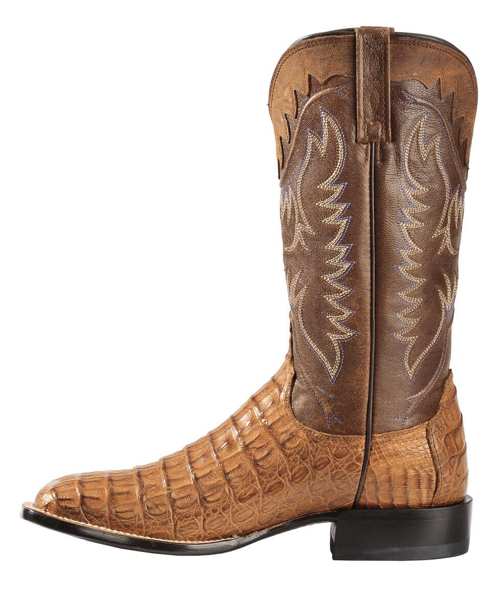 Lucchese Handmade 1883 Men's Rhys Hornback Caiman Cowboy Boots - Square Toe, Tan, hi-res