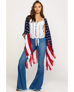American Attitude Women's American Flag Kimono, Red/white/blue, hi-res