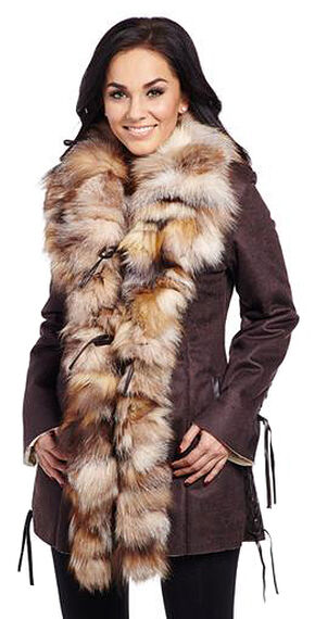 Cripple Creek Women's Shearling Coat, Brown, hi-res