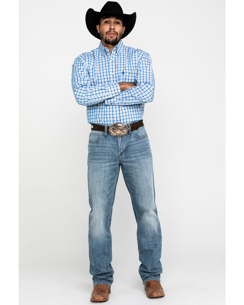 George Strait By Wrangler Blue Small Plaid Button Long Sleeve Western Shirt , Blue, hi-res