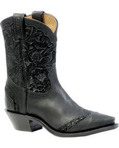 Boulet Art Barocco Calf Split Cowgirl Boots - Snip Toe, Black, hi-res