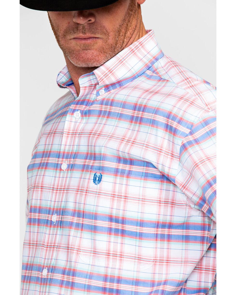 Panhandle Men's Rough Stock Doheny Vintage Plaid Short Sleeve Western Shirt , White, hi-res