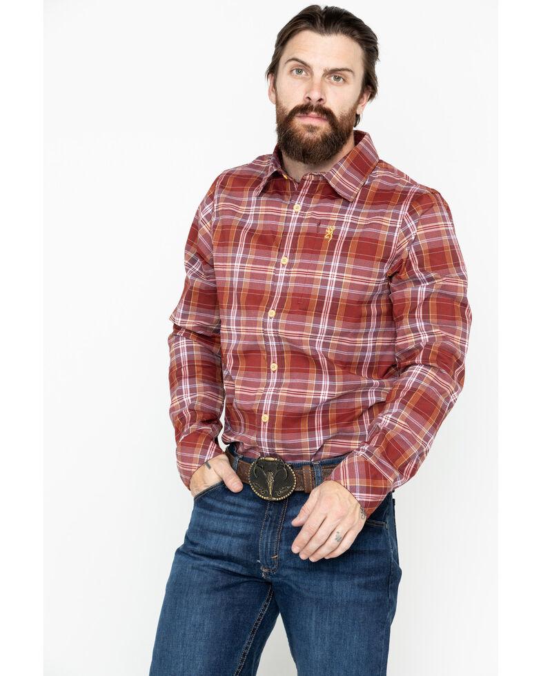 Browning Men's Blue Beacon Flannel Shirt , Burgundy, hi-res