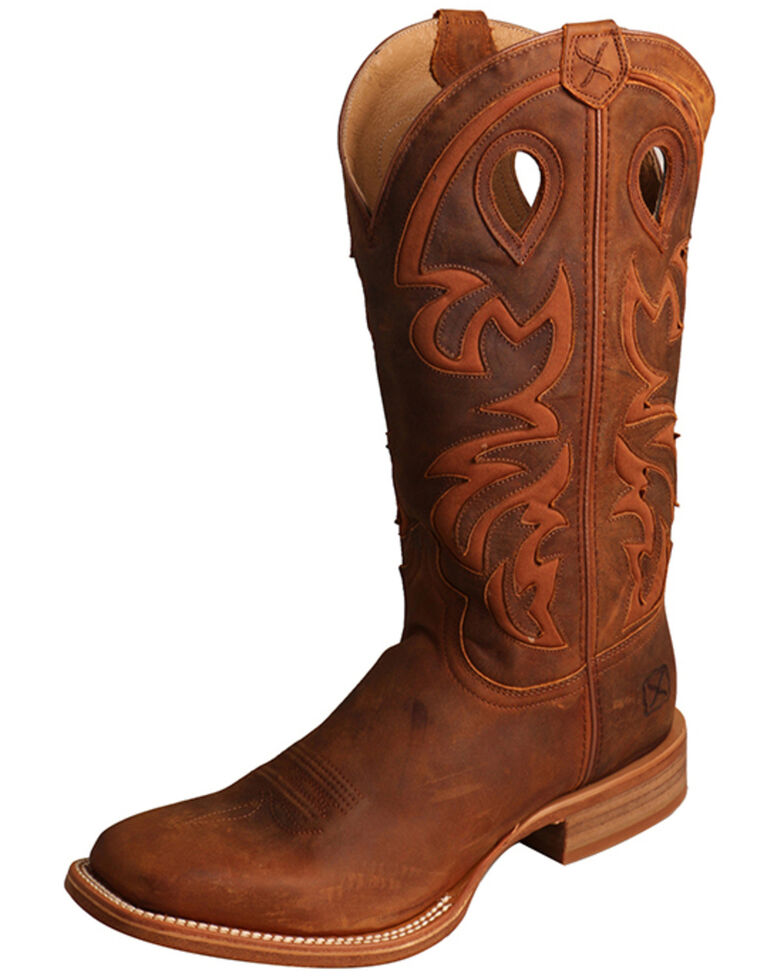 Twisted X Men's Ruff Stock Western Boots - Wide Square Toe, Brown, hi-res