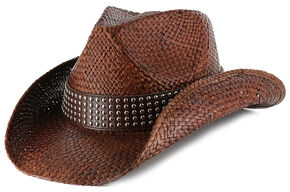 Shyanne Women's Hector Straw Cowgirl Hat, Dark Brown, hi-res
