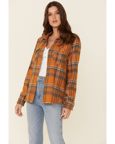 United By Blue Women's Sienna Mustard Plaid Long Sleeve Western Flannel Shirt , Mustard, hi-res