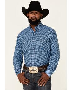 Roper Men's Storm Cloud Check Plaid Long Sleeve Button-Down Western Shirt , Blue, hi-res