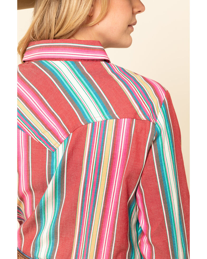 Wrangler Retro Women's Red Serape Snap Long Sleeve Western Shirt, Red, hi-res