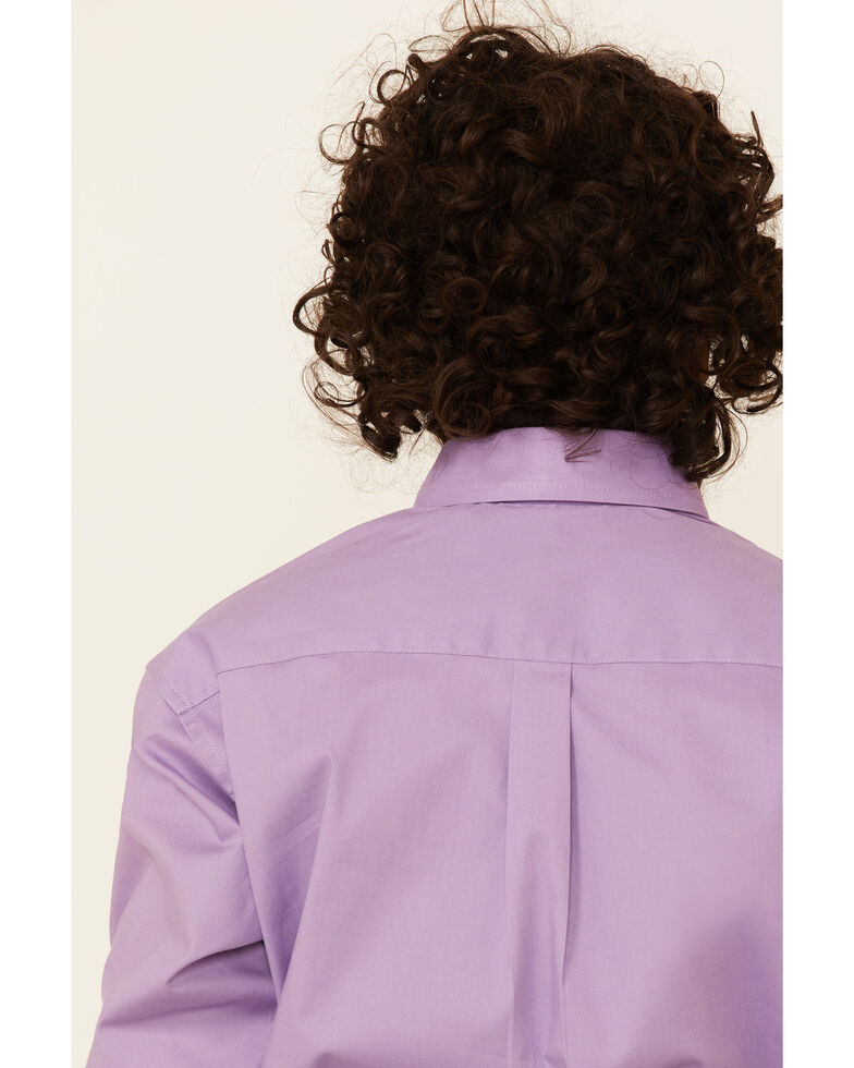 Panhandle Select Boys' Solid Violet Stretch Long Sleeve Button-Down Western Shirt , Violet, hi-res