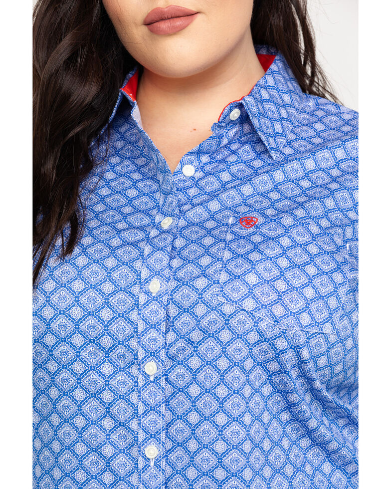 Ariat Women's Kirby Stretch Amparo Print Long Sleeve Western Shirt - Plus, Light Blue, hi-res