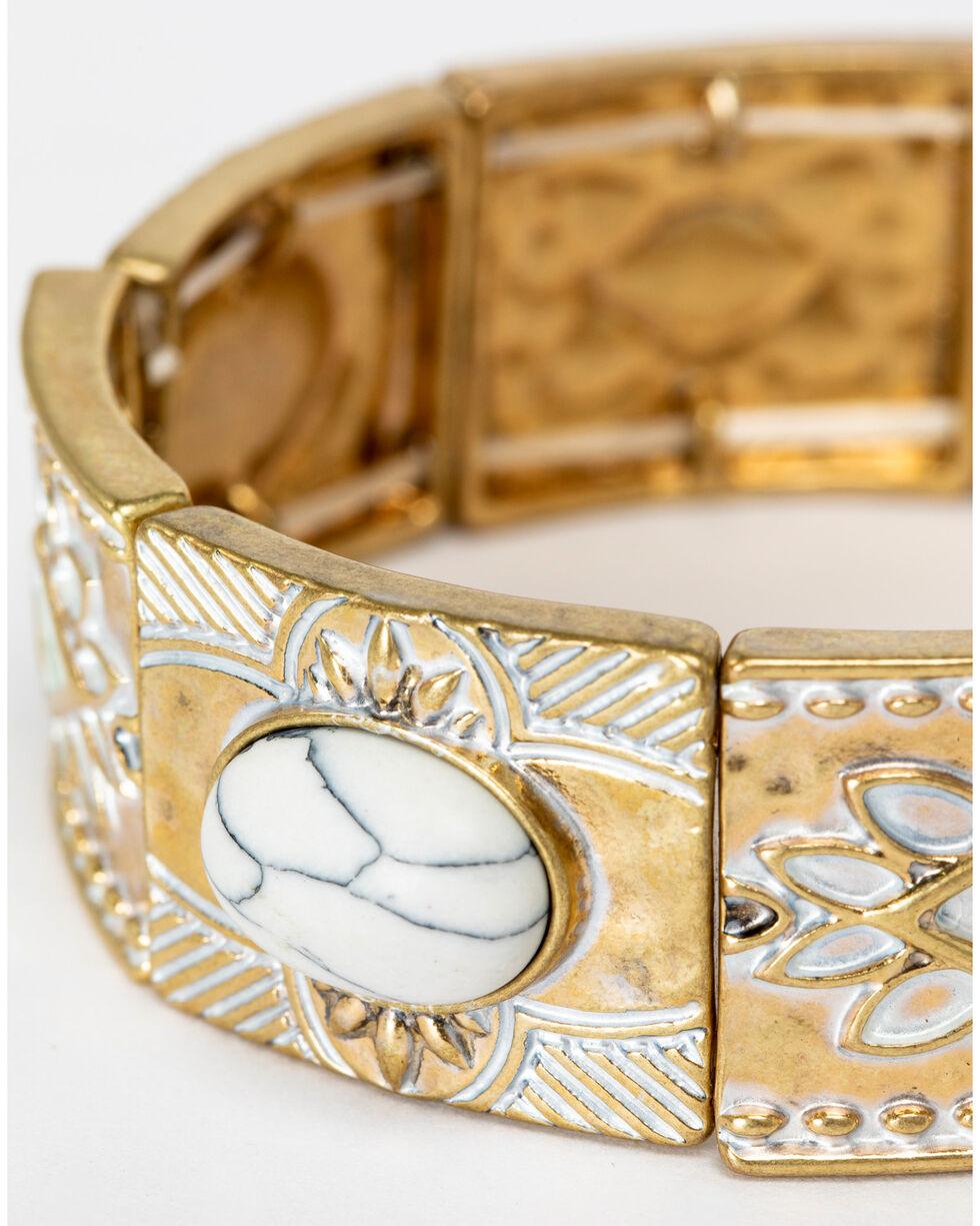 Shyanne Women's White Washed Gold Aztec Stretch Bracelet, Gold, hi-res