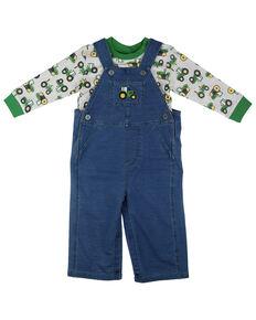 John Deere Kids' Infant Boys' Grey Tractor Denim Overall Set , Blue, hi-res