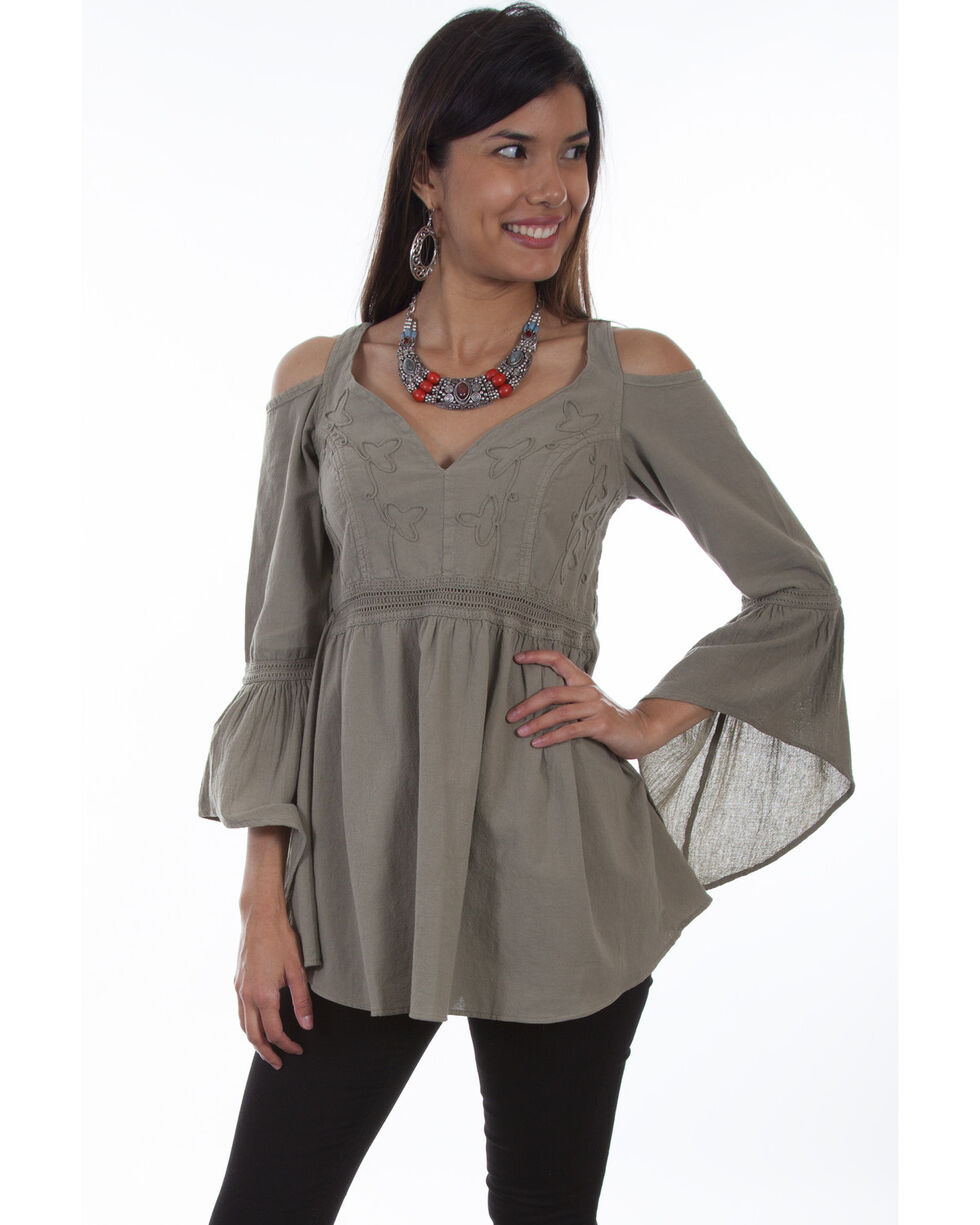 Scully Women's Cold Shoulder Long Sleeve Tunic Top , Olive, hi-res