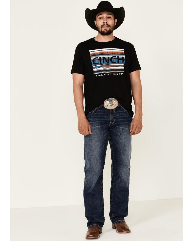 Cinch Men's Black Vintage Striped Logo Short Sleeve T-Shirt , Black, hi-res