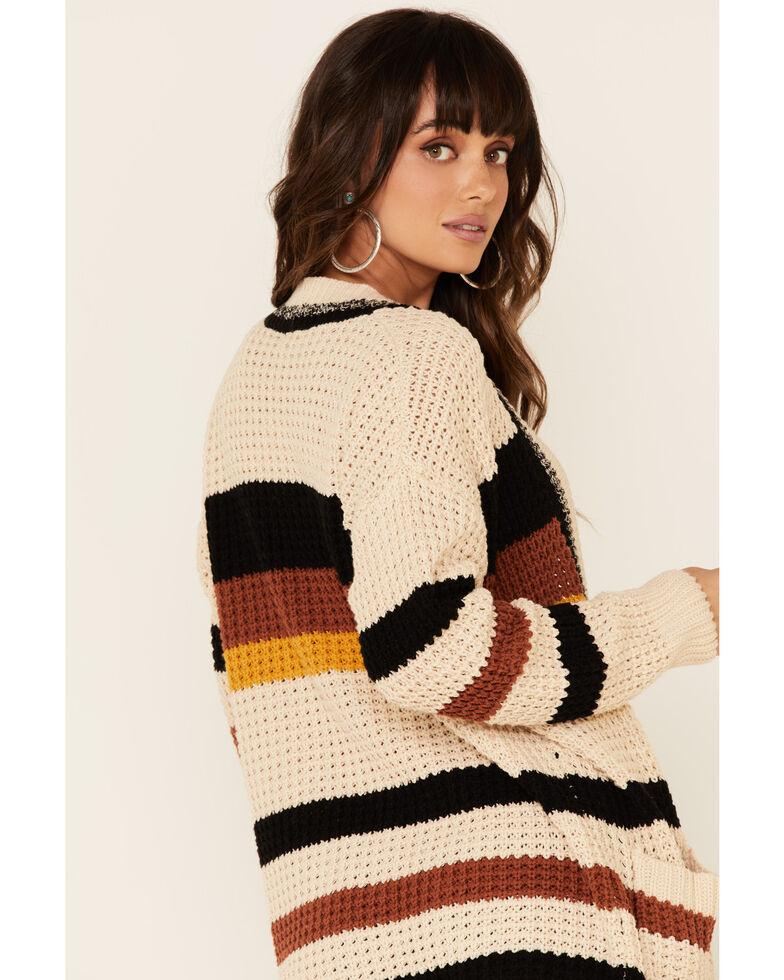 Hem & Thread Women's Cream Striped Cardigan , Cream, hi-res